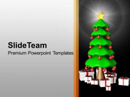 Pleasant Holidays Christmas Balls 3d Tree With Gifts New Year Templates Ppt For Slides Powerpoint