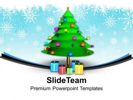 Pleasant Holidays Christmas Balls 3d Tree With Gifts Powerpoint Templates Ppt Backgrounds For Slides