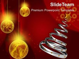 Pleasant Holidays Christmas Balls 3d Tree With Golden Baubles Celebration Templates Ppt Powerpoint