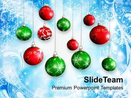 Pleasant Holidays Christmas Trees Background With Baubles Powerpoint Templates Ppt For Slides