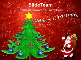 Pleasant Holidays Christmas Trees Decorative And Santa With Gifts Templates Ppt Backgrounds For Slides