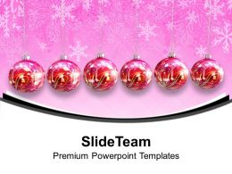Pleasant Holidays Merry Christmas Image Hanging Ornaments Decorations Templates Ppt For Slides