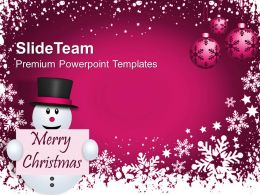 Pleasant Holidays Merry Christmas Image Happy Snowman Decoration Powerpoint Templates Ppt For Slides