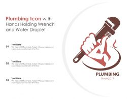 Plumbing Icon With Hands Holding Wrench And Water Droplet