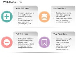 Plus Square Minus Circle Bookmark Database Ppt Icons Graphics