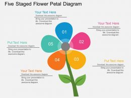 Pm Five Staged Flower Petal Diagram Flat Powerpoint Design
