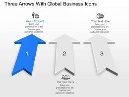 pm Three Arrows With Global Business Icons Powerpoint Template Slide