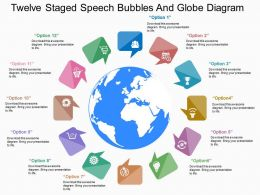 pm Twelve Staged Speech Bubbles And Globe Diagram Flat Powerpoint Design