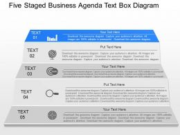 pn Five Staged Business Agenda Text Box Diagram Powerpoint Template