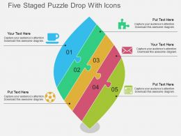 Pn Five Staged Puzzle Drop With Icons Flat Powerpoint Design