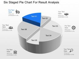 pn Six Staged Pie Chart For Result Analysis Powerpoint Template