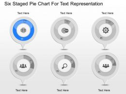 po Six Staged Pie Chart For Text Representation Powerpoint Template