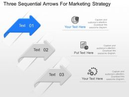 po Three Sequenial Arrows For Marketing Straregy Powerpoint Template Slide