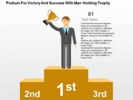 Podium For Victory And Success With Man Holding Trophy Flat Powerpoint Design