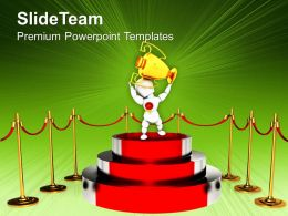 Podium For Winner With Red Carpet Trophy Powerpoint Templates Ppt Themes And Graphics 0113