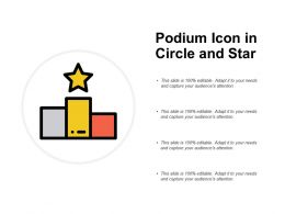 Podium Icon In Circle And Star