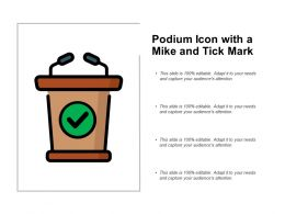 Podium Icon With A Mike And Tick Mark