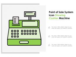 Point Of Sale System Icon Showing Cashier Machine
