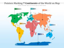 Pointers Marking 7 Continents Of The World On Map
