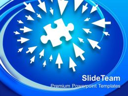 Pointing Arrows Towards Puzzle Solution Powerpoint Templates Ppt Themes And Graphics 0113