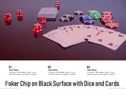 Poker Chip On Black Surface With Dice And Cards