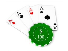 Poker Chip With Hundred Dollar Value And Four Aces Stock Photo