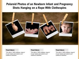 Polaroid Photos Of An Newborn Infant And Pregnancy Shots Hanging On A Rope With Clothespins