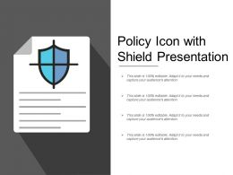 Policy Icon With Shield Presentation