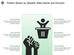 Politics Shown By Speaker Mike Hands And Humans
