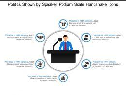 Politics Shown By Speaker Podium Scale Handshake Icons
