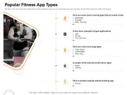 Popular Fitness App Types Icon Vector How Enter Health Fitness Club Market Ppt Layouts Graphics Download