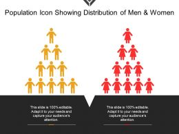 Population Icon Showing Distribution Of Men And Women