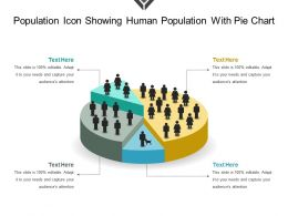 Population Icon Showing Human Population With Pie Chart
