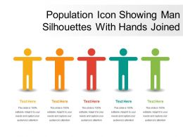 Population Icon Showing Man Silhouettes With Hands Joined