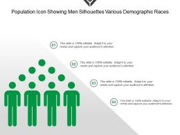 Population Icon Showing Men Silhouettes Various Demographic Races