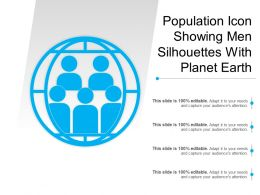 Population Icon Showing Men Silhouettes With Planet Earth