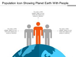 Population Icon Showing Planet Earth With People