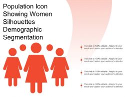 Population Icon Showing Women Silhouettes Demographic Segmentation
