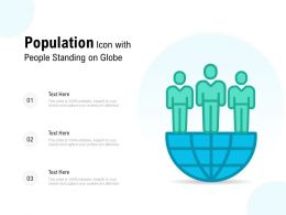 Population Icon With People Standing On Globe