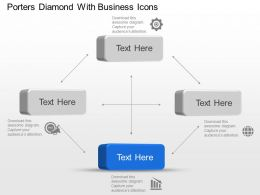 Porters Diamond With Business Icons Powerpoint Template Slide