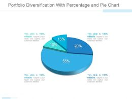 Portfolio Diversification With Percentage And Pie Chart Ppt Design