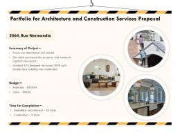 Portfolio For Architecture And Construction Services Proposal Ppt Powerpoint Template