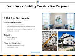 Portfolio For Building Construction Proposal Ppt Powerpoint Presentation Inspiration Sample