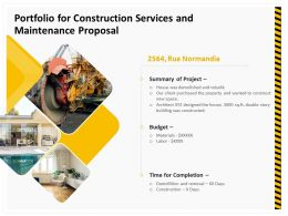 Portfolio For Construction Services And Maintenance Proposal Ppt Example File