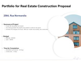 Portfolio For Real Estate Construction Proposal Ppt Powerpoint Presentation Gallery Icon