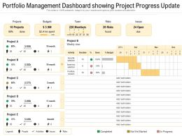 Portfolio Management Dashboard Showing Project Progress Update