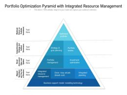 Portfolio Optimization Pyramid With Integrated Resource Management