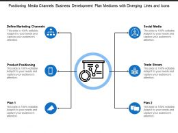 Positioning Media Channels Business Development Plan Mediums With Diverging Lines And Icons