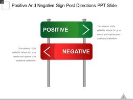 Positive And Negative Sign Post Directions Ppt Slide