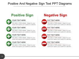 Positive And Negative Sign Text Ppt Diagrams